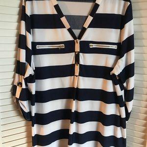 Striped quarter length blouse